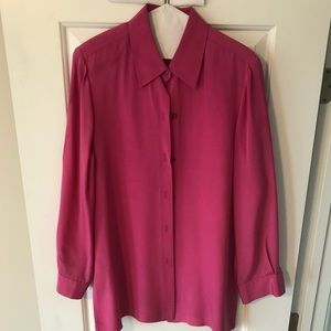 Josephine Chaus 100% Silk long blouse Size 10